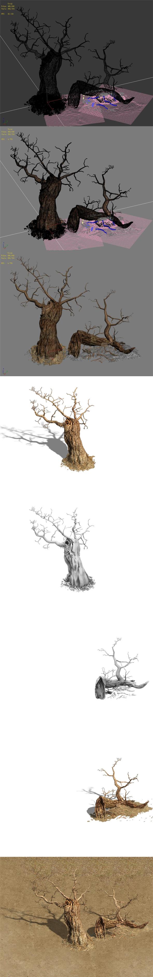 Barracks - desert Dead tree 01 - 3DOcean Item for Sale