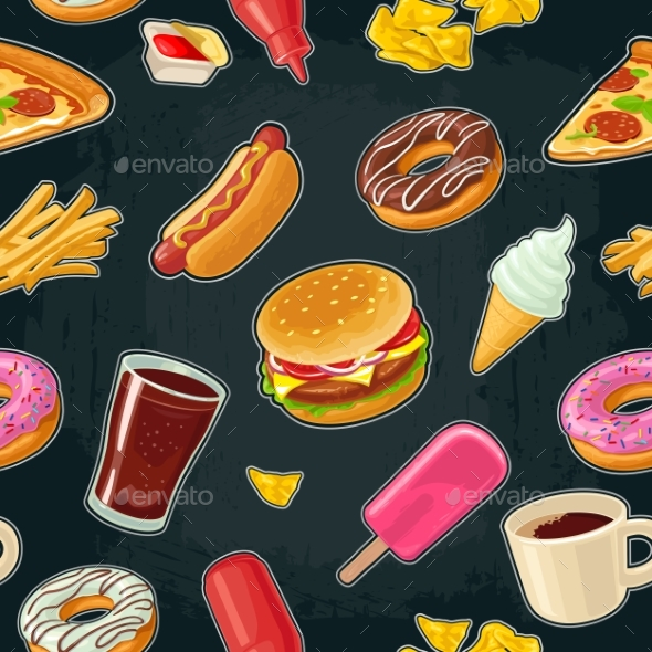 Seamless Pattern Fast Food. Cup Cola, Coffee - Miscellaneous Vectors