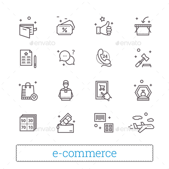 E-commerce, Retail, Shopping Thin Line Icons. - Business Icons