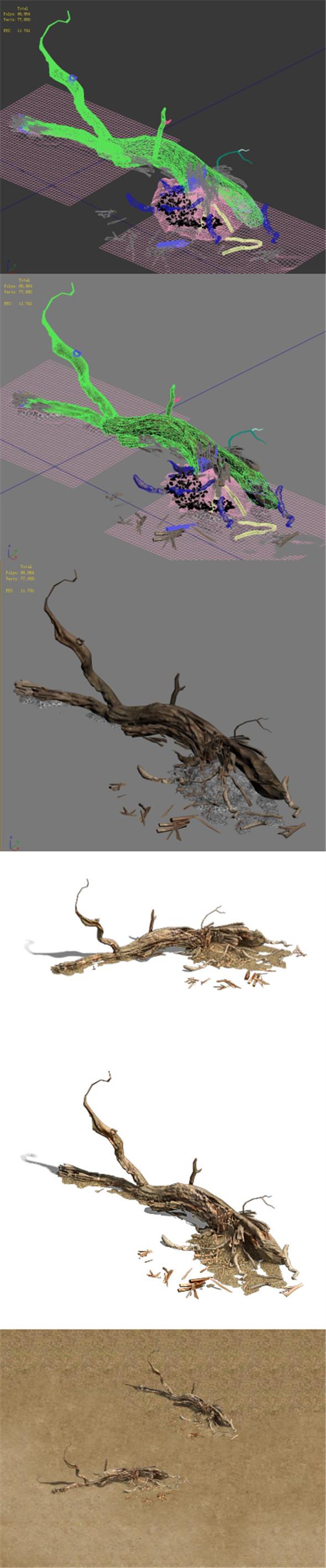 Barracks - desert Dead tree 03 - 3DOcean Item for Sale