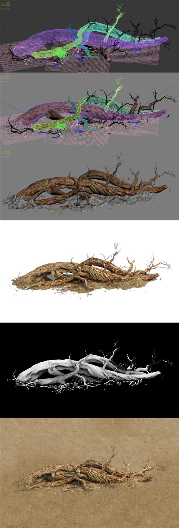 Barracks - desert Dead tree 07 - 3DOcean Item for Sale