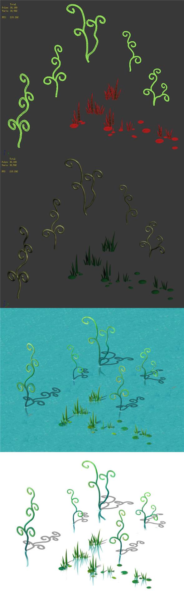 Cartoon Sky City - Jade Pond - Plant - 3DOcean Item for Sale