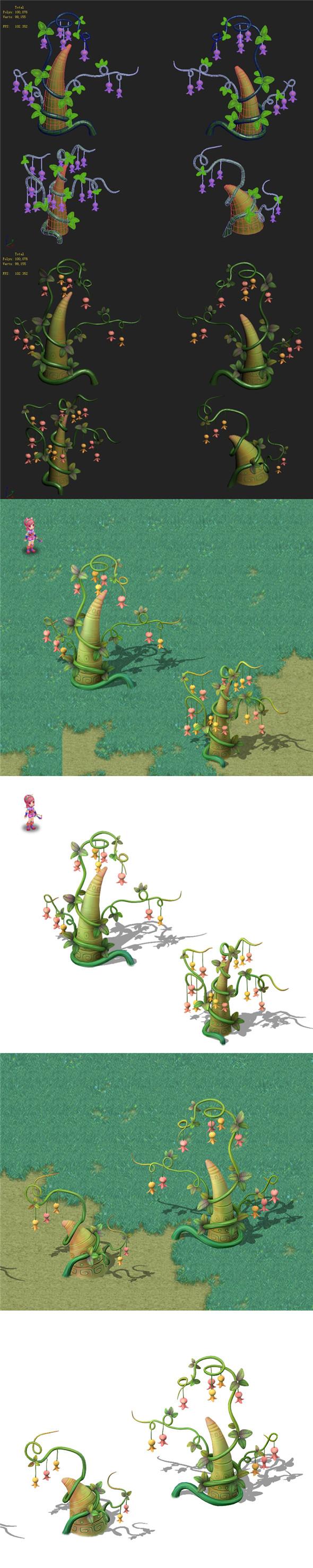 Cartoon sky city - fairy rattan stone teeth - 3DOcean Item for Sale
