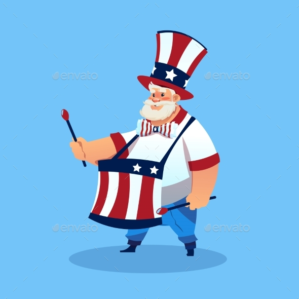 Man Wearing American Flag Colored Hat Play Drums - Seasons/Holidays Conceptual