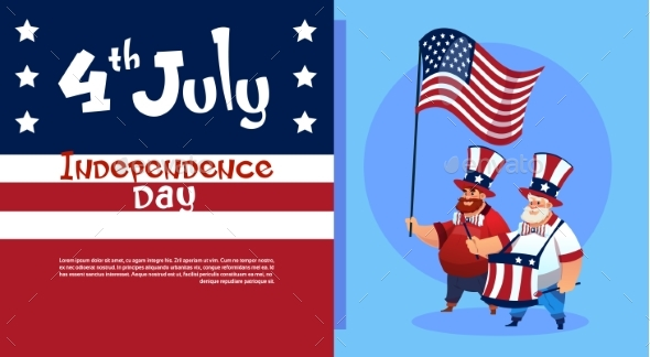 Man Holding American Flag United States - Seasons/Holidays Conceptual