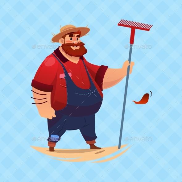Farmer Hold Rake Cartoon Character Country Man - Animals Characters