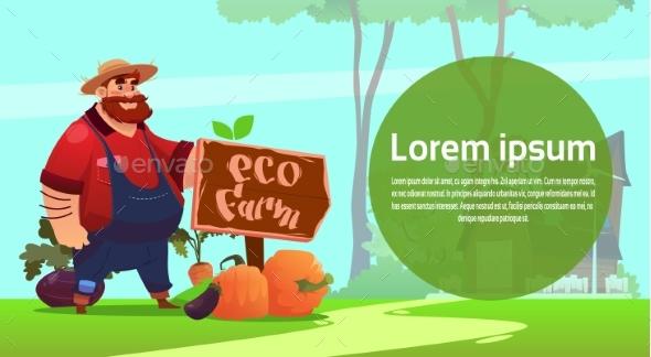 Farmer Cartoon Character Country Man Eco Farming - Animals Characters