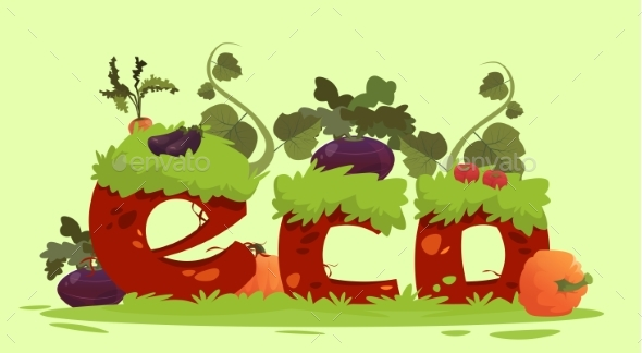 Eco Farming Fresh Domestic Food Concept Banner - Animals Characters