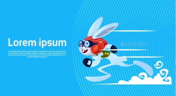 Cartoon Rabbit Sporty Running Banner With Copy - Sports/Activity Conceptual