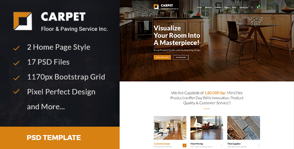 CARPET – Flooring, Paving & Tiling PSD Template