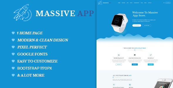 Massive APP Landing Page PSD Template