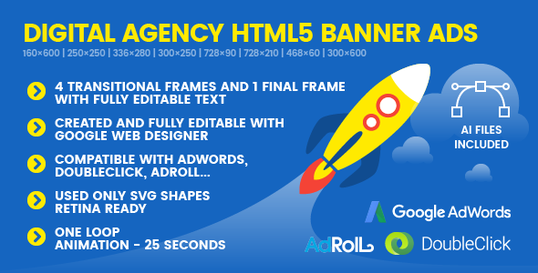 SEO Genius Digital Agency - Animated HTML5 Google Banner Ad Templates - CodeCanyon Item for Sale