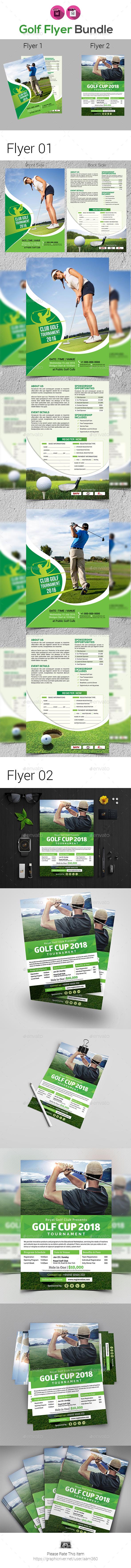 Golf Tournament Flyer Template Bundle - Sports Events