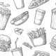Seamless Pattern of Fast Food - GraphicRiver Item for Sale