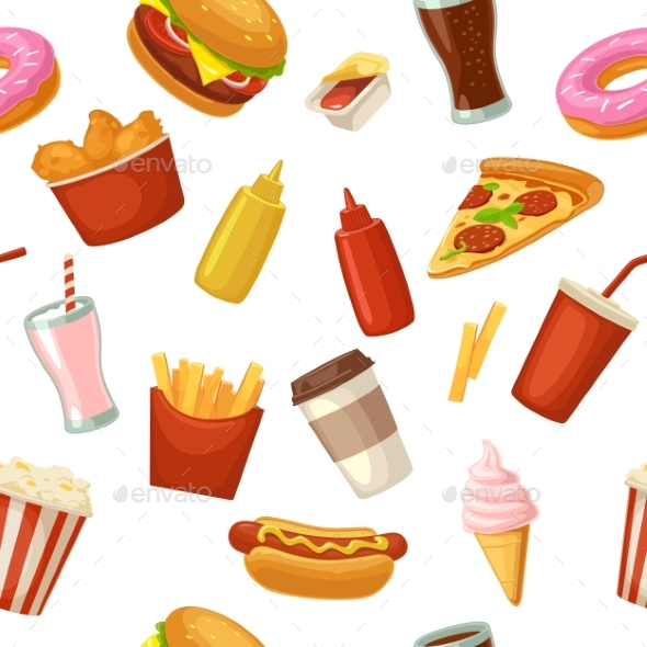 Seamless Pattern of Fast Food - Food Objects