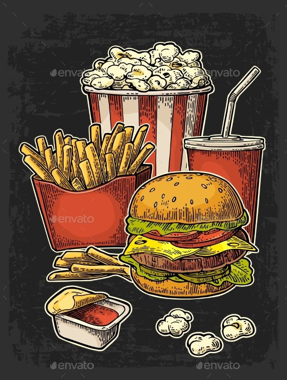 Poster with Fast Food - Food Objects