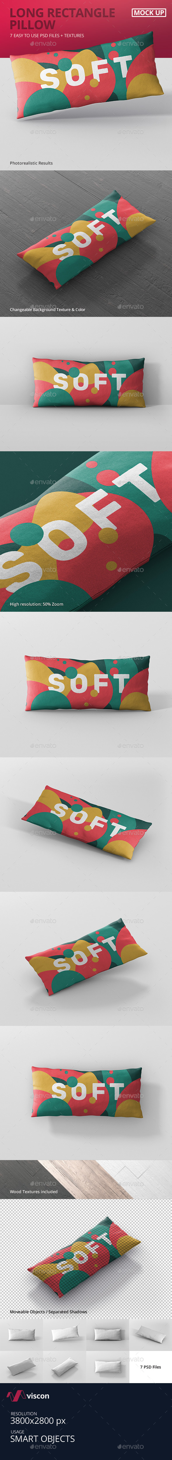 Pillow Mockup - Long Rectangle - Miscellaneous Product Mock-Ups