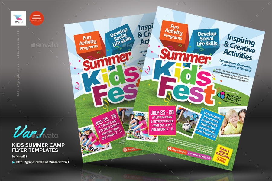 Kids Summer Camp Flyers By Kinzi  Graphicriver