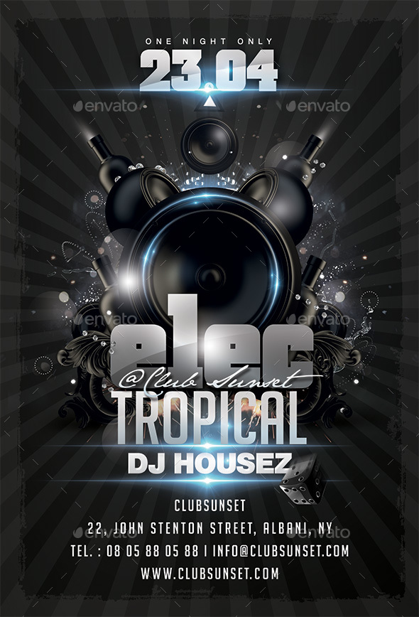 Electro Tropical Flyer - Clubs & Parties Events