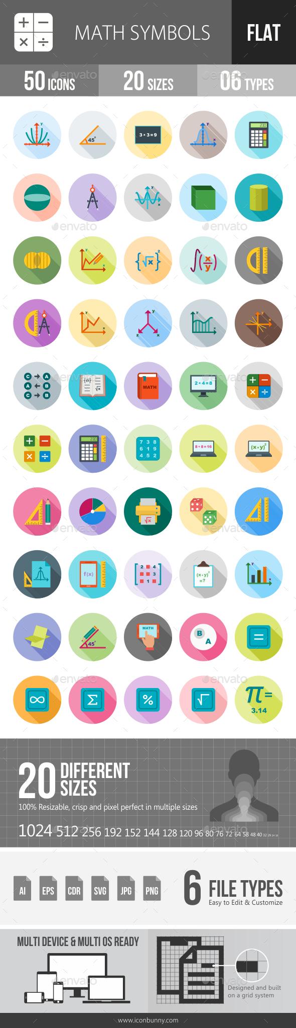 Math Symbols Flat Shadowed Icons - Icons