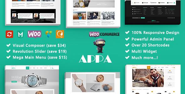 ThemeForest Appa Watch Store Responsive WooCommerce WordPress Theme 20139767