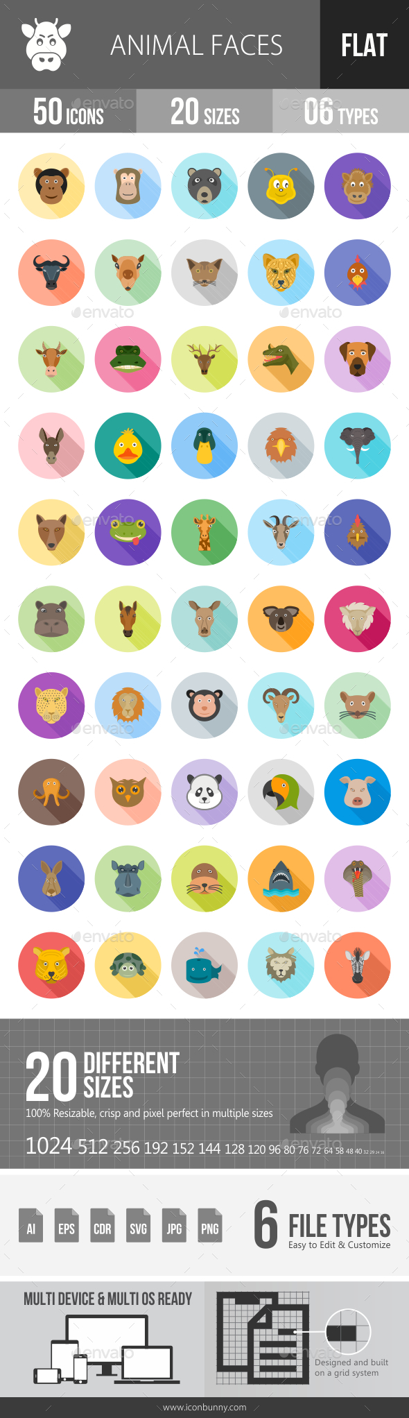 Animal Faces Flat Shadowed Icons - Icons