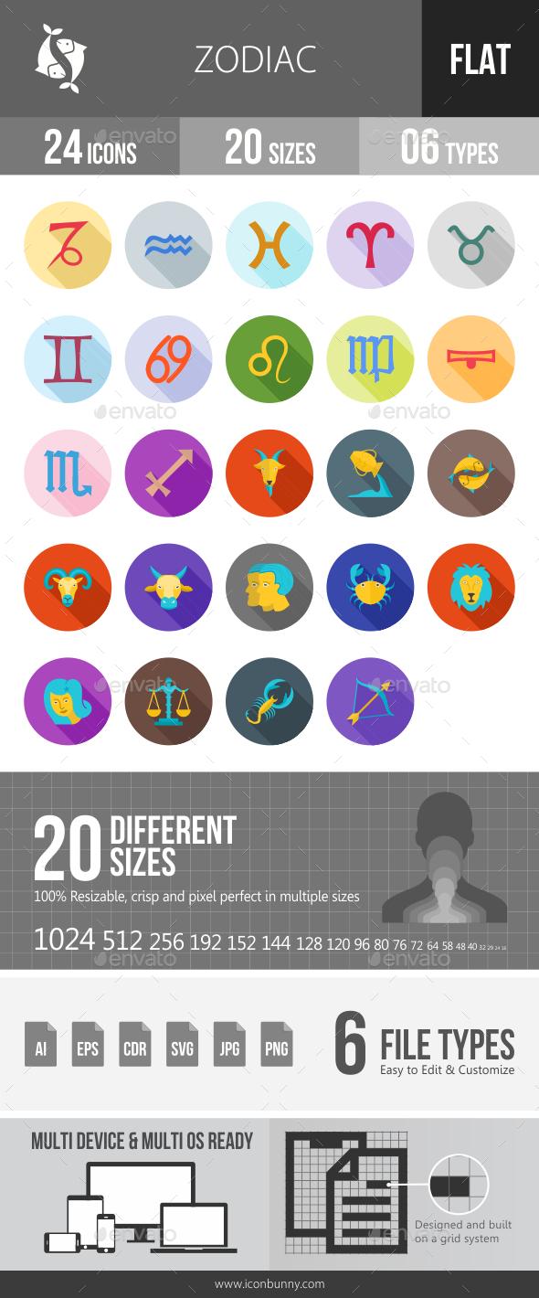 Zodiac Flat Shadowed Icons - Icons