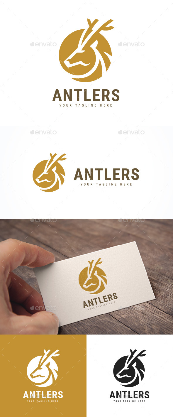 Deer Antlres Logo - Animals Logo Templates