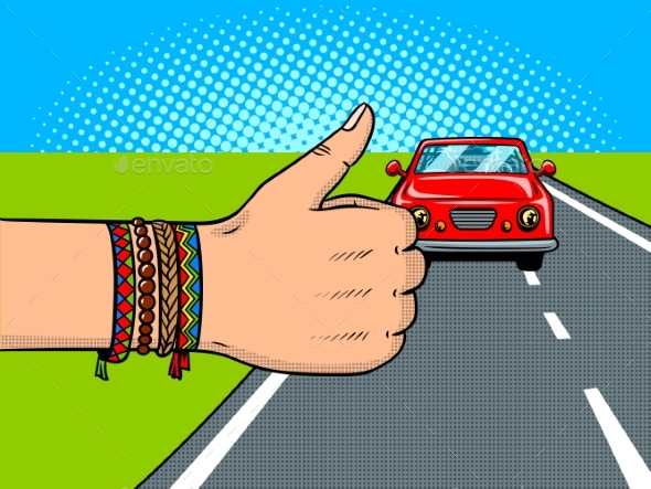 Hitchhiking Pop Art Vector Illustration - People Characters