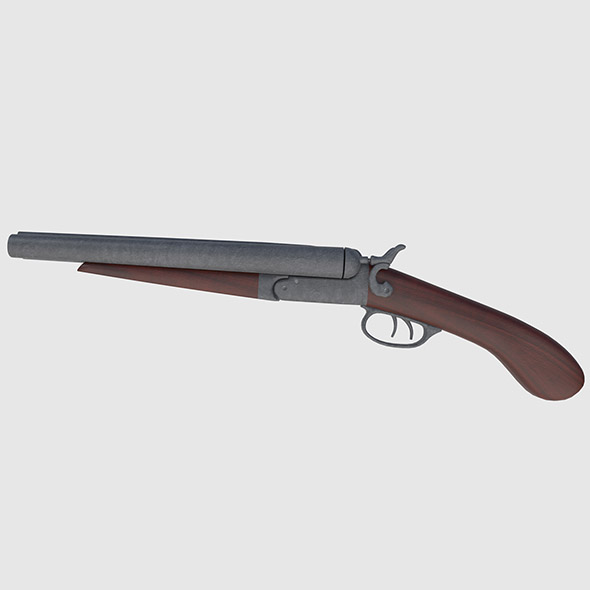 Colt 1877 Sawed Off Shotgun - Game Ready - 3DOcean Item for Sale