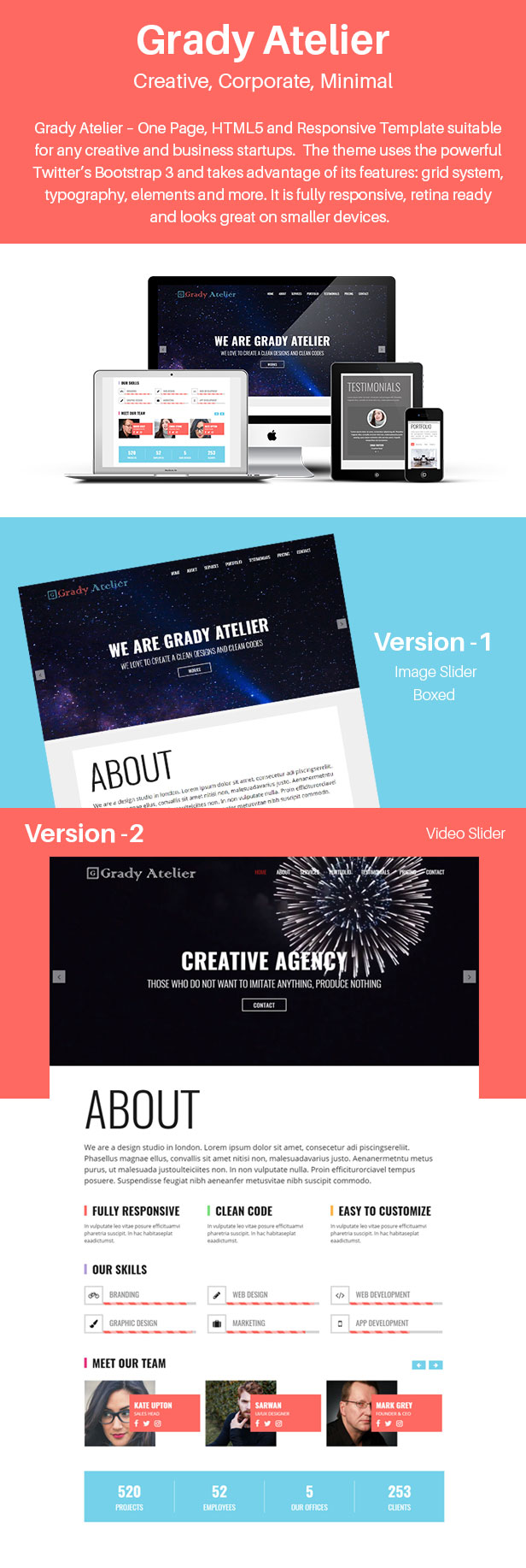 Grady Atelier One Page Responsive Html5 Template By Themesfolio