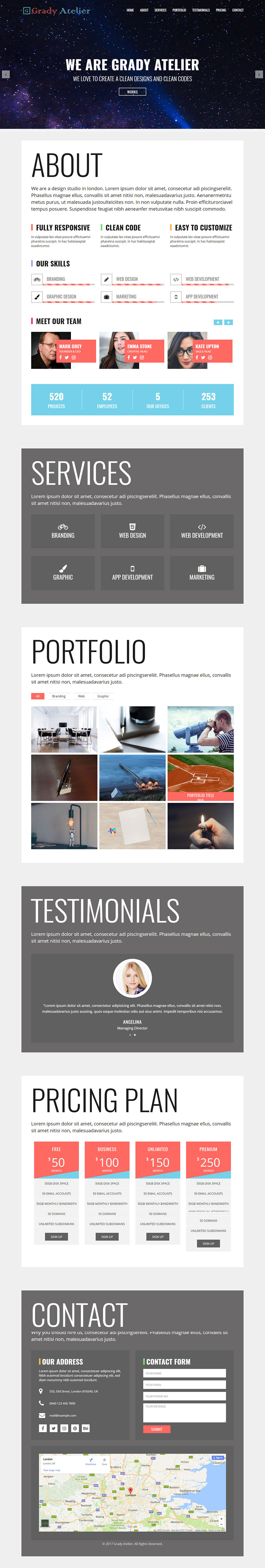 Grady Atelier - One Page Responsive HTML5 Template by Themesfolio ...