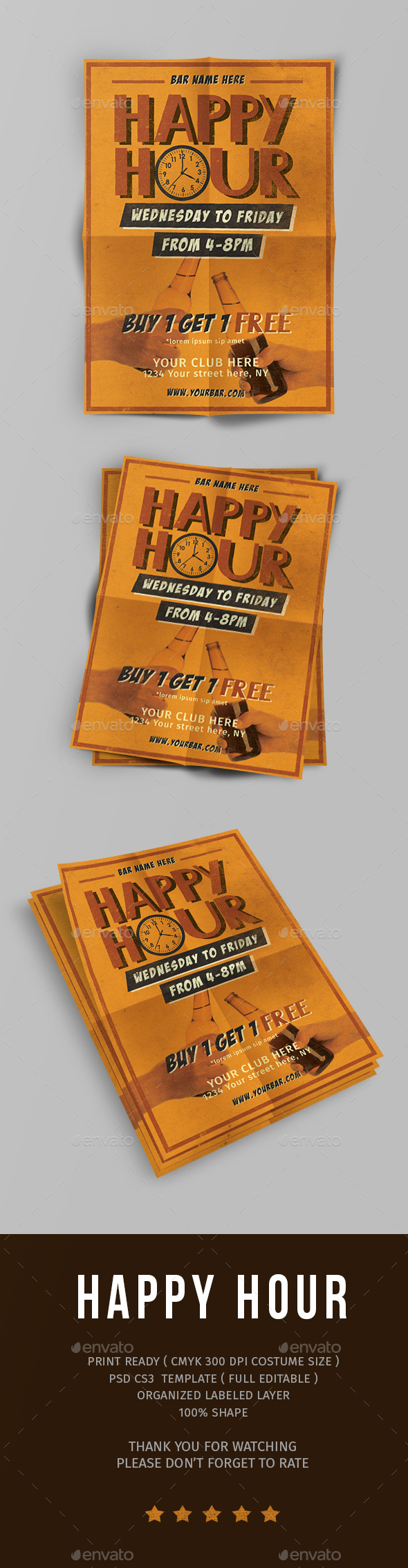 Vintage Happy Hour - Events Flyers