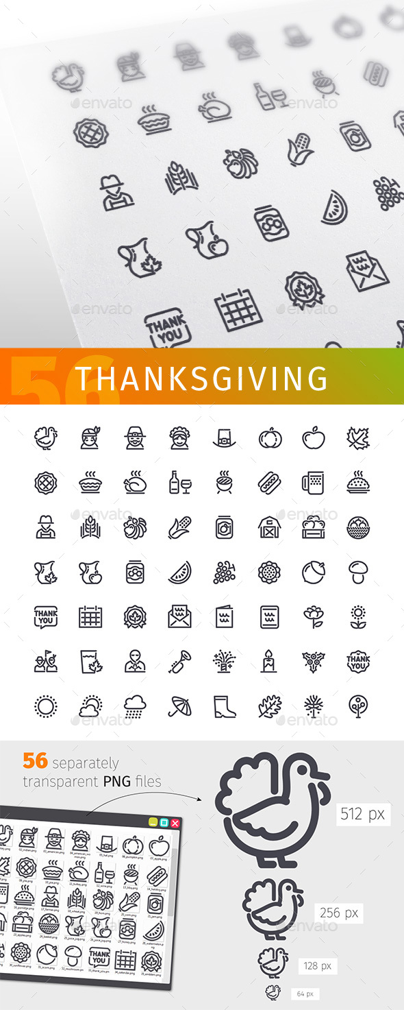 Thanksgiving Line Icons Set - Man-made objects Objects