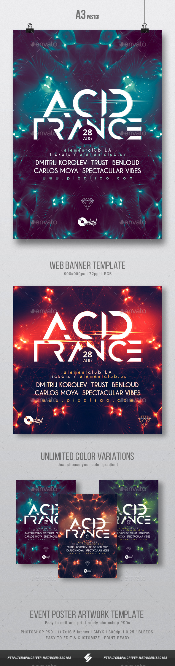 Acid Trance - Club Party Flyer / Poster Template A3 - Clubs & Parties Events