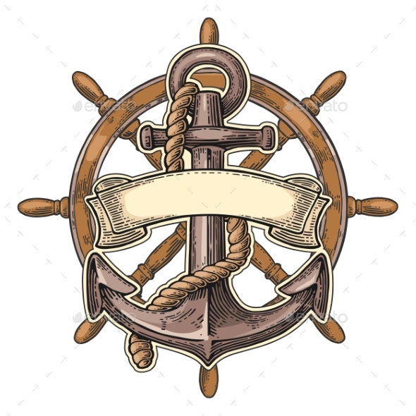 Anchor and Wheel with Ribbon Isolated on Beige - Decorative Symbols Decorative
