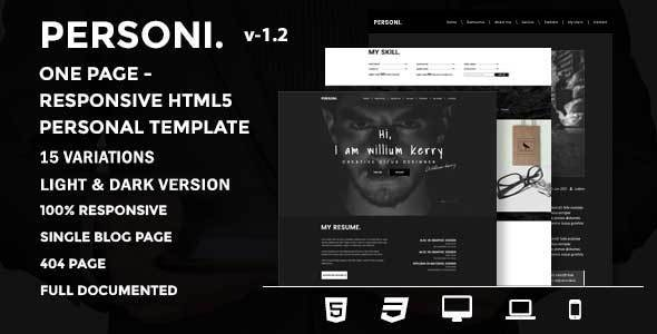 Personi | One Page - Responsive HTML5 Personal Template by themewarehouse