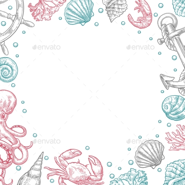 Sea Shell Template for Greeting Card and Poster - Borders Decorative
