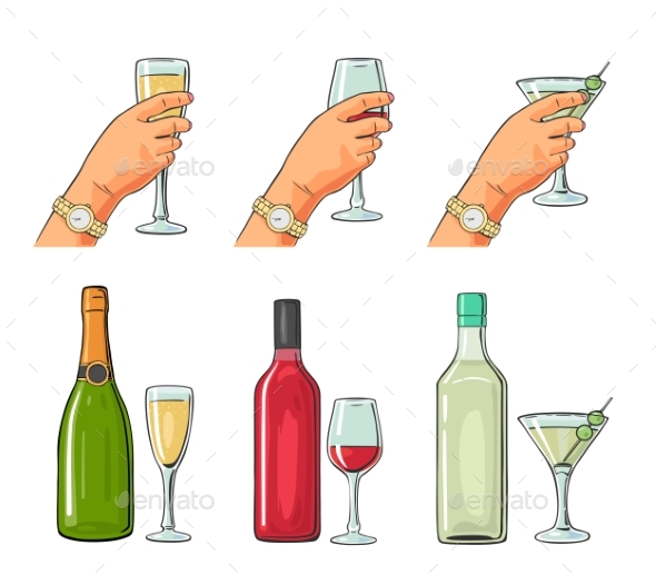 Set of Alcoholic Drinks - Miscellaneous Vectors