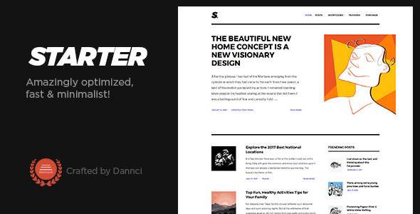 Starter - Amazingly optimized, fast & minimalist blog theme! - Personal Blog / Magazine