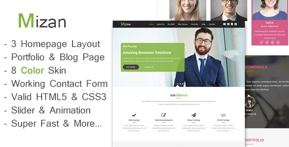 Mizan – One Page Business And Corporate HTML Template