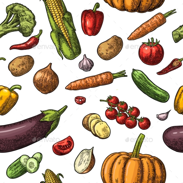 Seamless Pattern Vegetables - Food Objects
