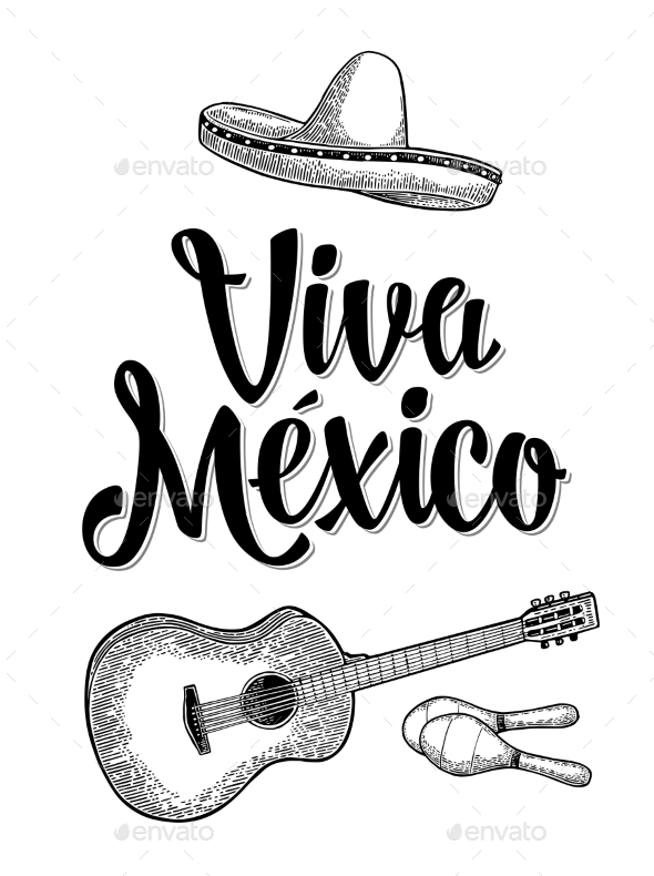 Viva Mexico Lettering and Guitar - Miscellaneous Vectors
