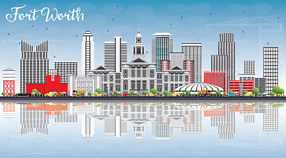 Fort Worth Skyline with Gray Buildings, Blue Sky and Reflections - Buildings Objects