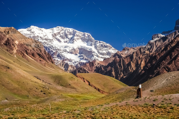 Majestic peak of Aconcagua - Stock Photo - Images
