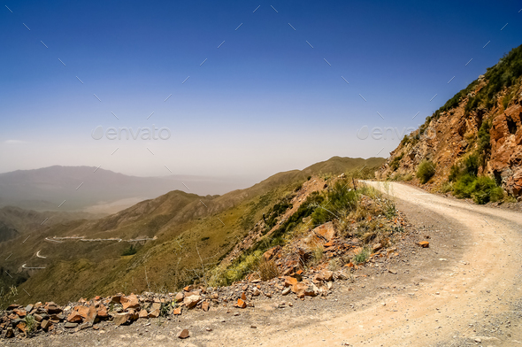 Mountain Road from Termas Villevicencio in Argentina - Stock Photo - Images