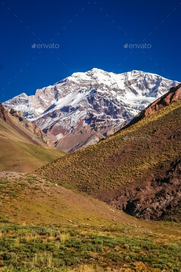 Majestic peak of Aconcagua - Stock Photo - Images