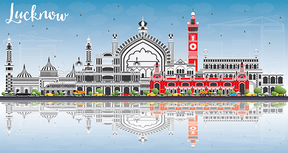 Lucknow Skyline with Gray Buildings, Blue Sky and Reflections - Buildings Objects