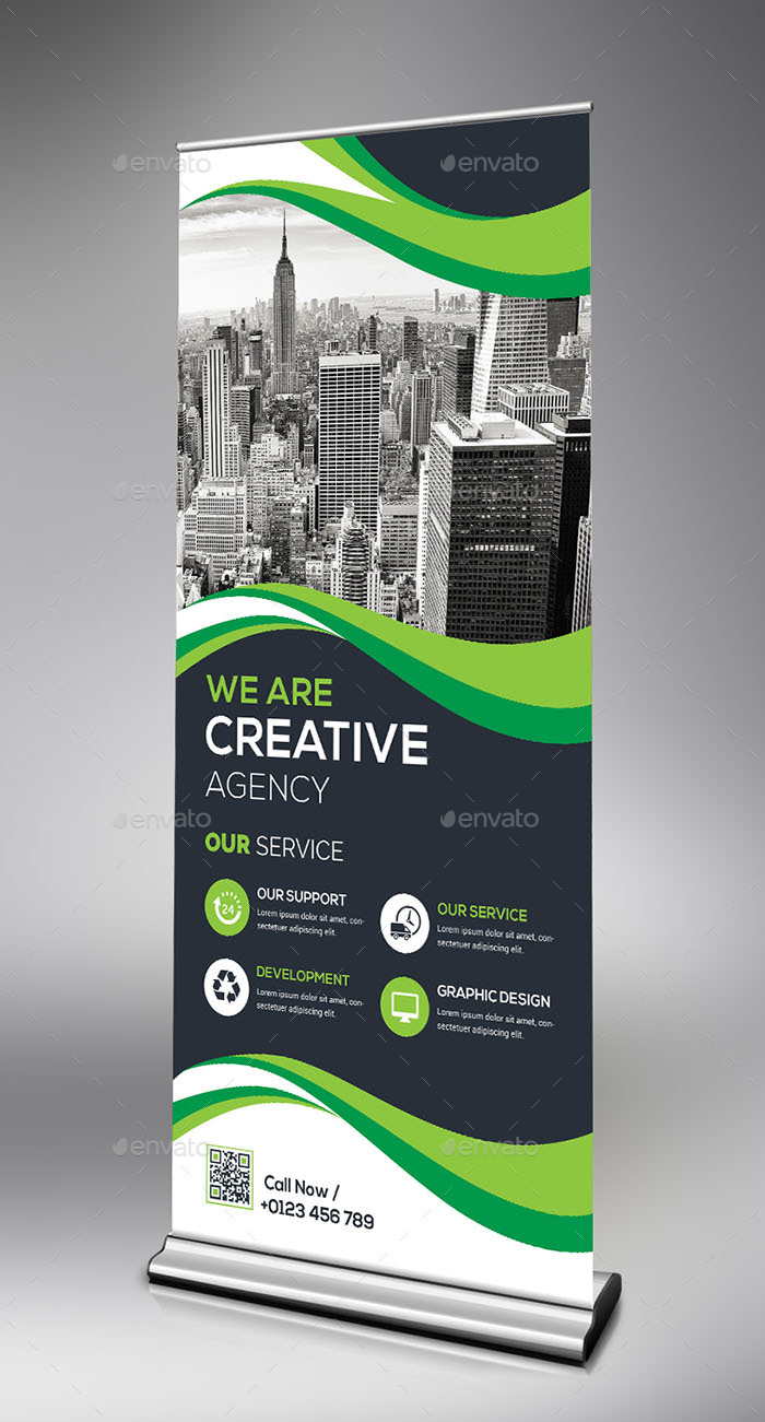 Roll-Up Banner Bundle_2 in 1 by generousart | GraphicRiver