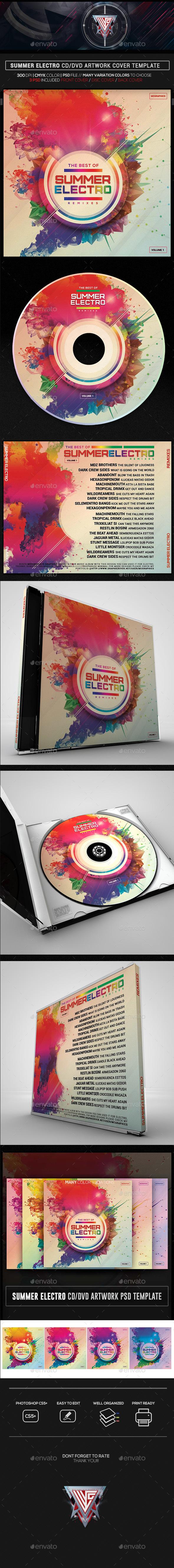 Summer Electro CD/DVD Template - CD & DVD Artwork Print Templates